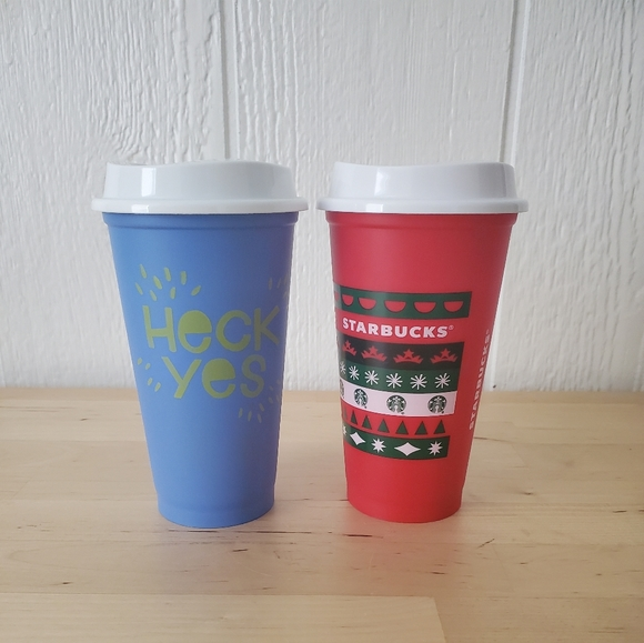 Starbucks Plastic cups W/ lids. Heck yeah/Holiday